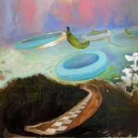 'parallax mapping (banana blitz)', 2009, oil on aluminium mounted on board, 40 x 40 cm